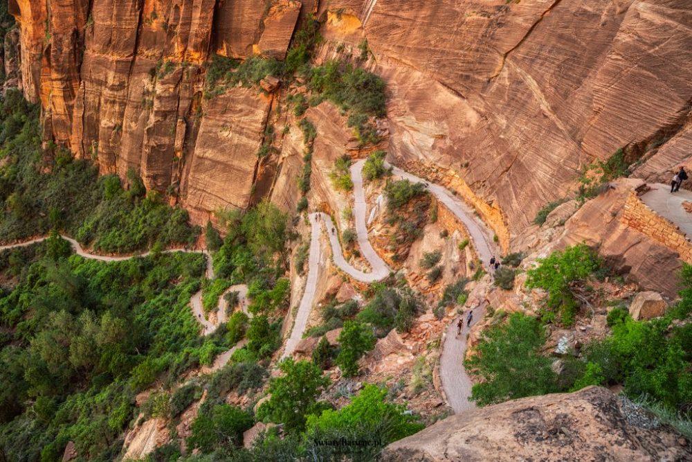 Zion Angels Landing - szlak widziany z góry