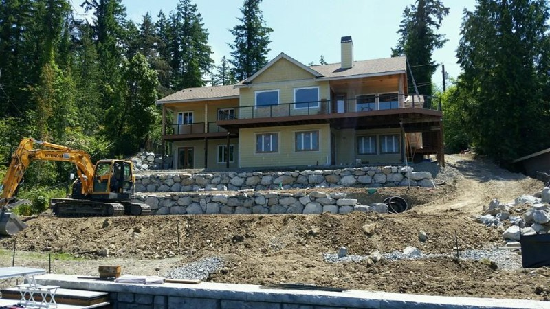 Rock wall construction at a new property