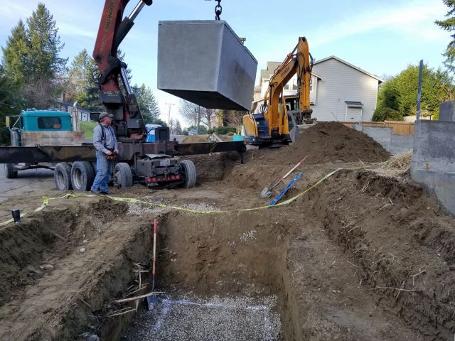 Excavating for a tank