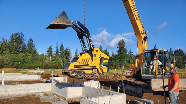 lowering dozer to backfill inside crawlspace