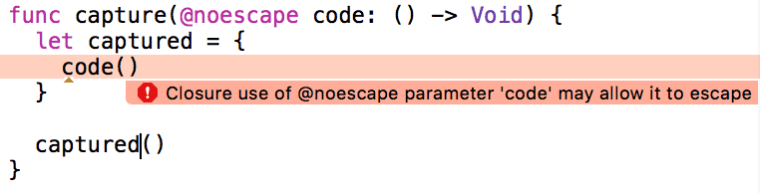 xcode noescape capture error
