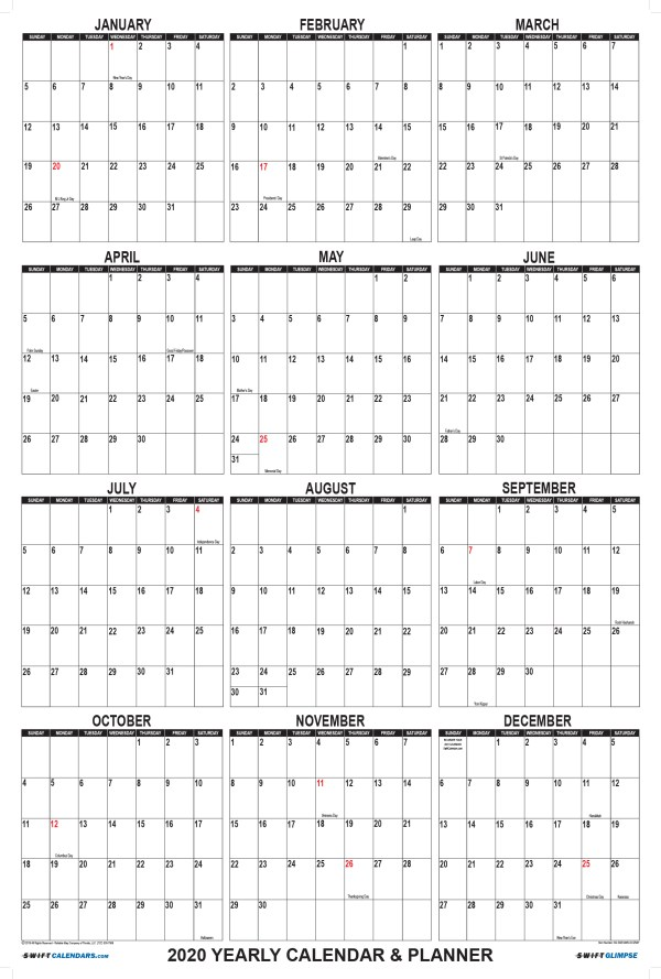 2020 Wall Calendar 24 x 36 White SwiftGlimpse with Vertical Orientation
