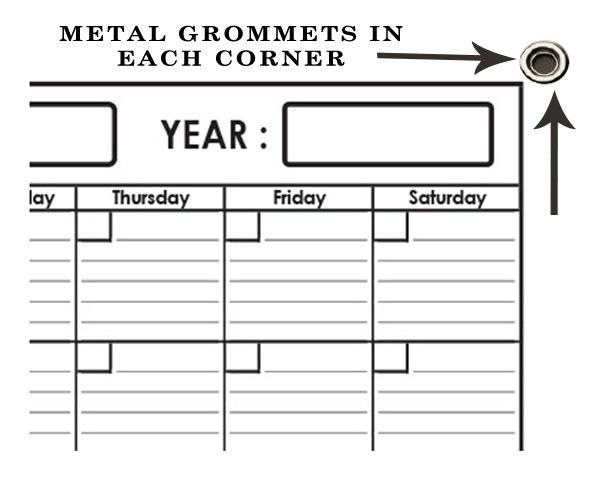 Monthly Wall Planner 18 x 24 by SwiftGlimpse with Grommets