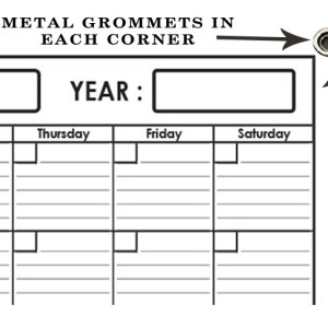 Monthly Wall Planner 48 x 65 by SwiftGlimpse with Grommets