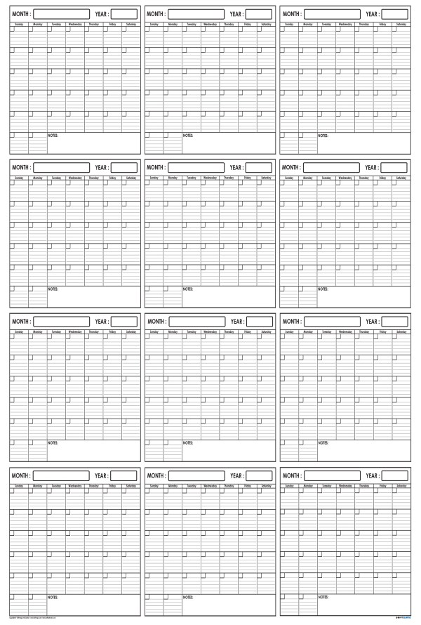 Yearly Wall Planner 48 x 72 by SwiftGlimpse Vertical Orientation
