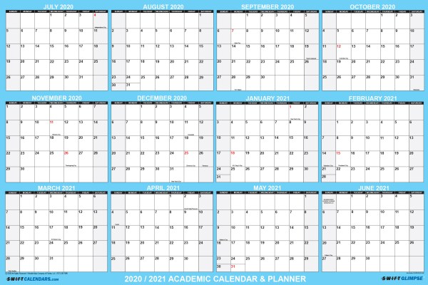 2020 2021 Academic Planning Calendar for students or teachers virtual learning school supplies