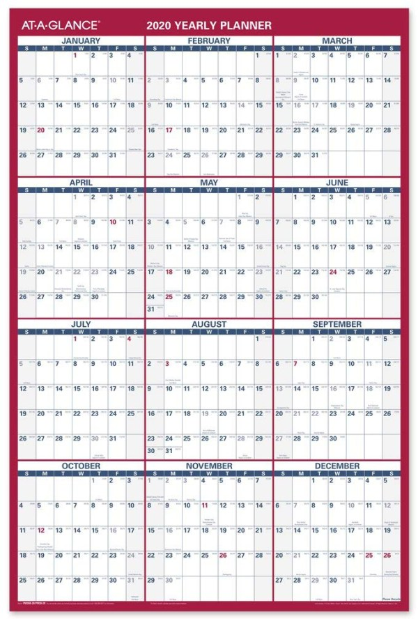 At a glance yearly calendar planner