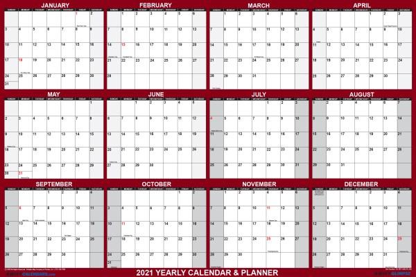 "2021 Oversized Wall Calendar 48"" x 72"" - Jumbo SwiftGlimpse in Maroon"