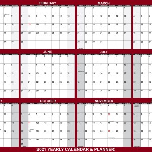 "2021 Oversized Wall Calendar 48"" x 72"" - Jumbo SwiftGlimpse in Maroon"