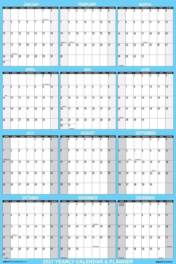 2021 Wall Calendar 24 x 36 Folded Paper Version - SwiftGlimpse Large Paper Calendar in Blue
