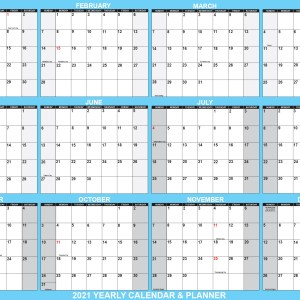 "2021 Wall Calendar 24"" x 36"" Folded Paper Version - SwiftGlimpse Large Paper Calendar in Blue"
