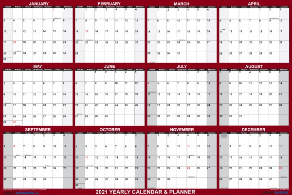 2021 Wall Calendar 24 x 36 Folded Paper Version SwiftGlimpse Large Paper Calendar in Maroon