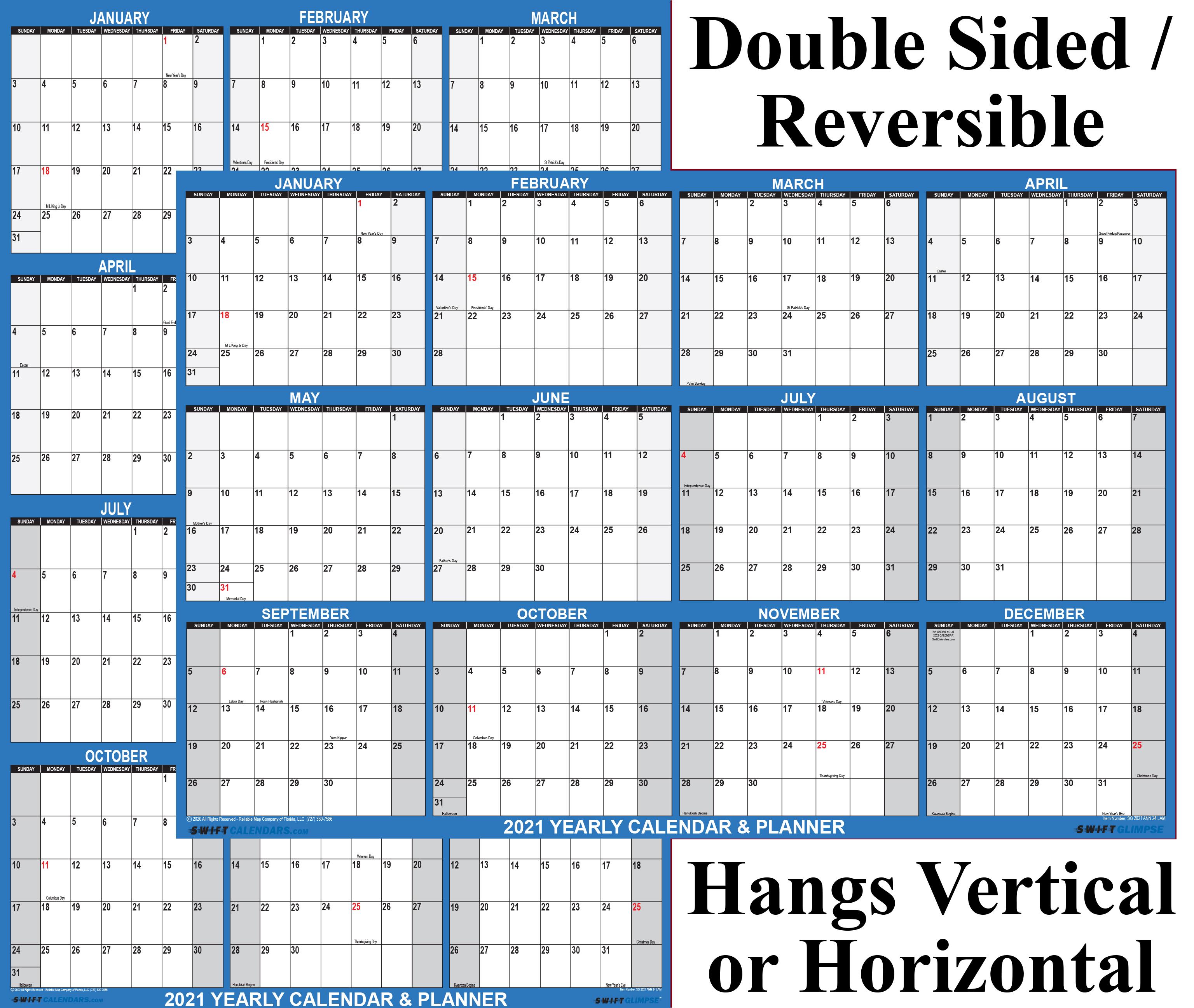 "2021 Wall Calendar 24"" x 36"" Reversible SwiftGlimpse Navy"