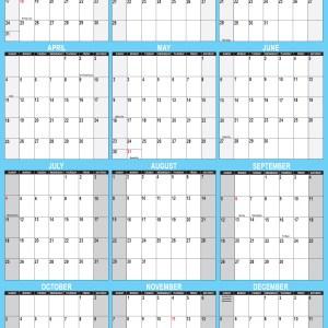 2021 Wall Calendar 32 x 48 Reversible SwiftGlimpse in Blue Vertical