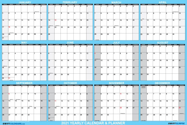 "2021 Wall Calendar 32"" x 48"" -Reversible SwiftGlimpse in Blue"