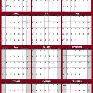 2021 Wall Calendar 32 x 48 Reversible SwiftGlimpse in Maroon Vertical