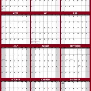 2021 Wall Calendar 32 x 48 Reversible SwiftGlimpse in Maroon Vertical