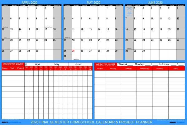 Homeschool Academic Wall Planning Calendar