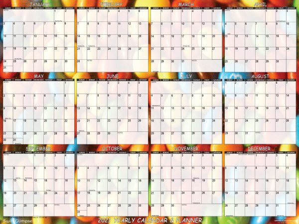 """2021 Wall Calendar, designed with vibrant candy background, is 24"""" x 36"""". Large wall calendar reinvigorates home, school or office workspace."""