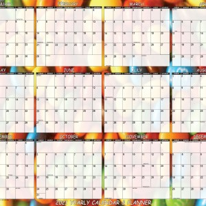"2021 Wall Calendar, designed with vibrant candy background, is 24"" x 36"". Large wall calendar reinvigorates home, school or office workspace."
