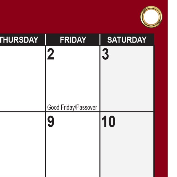 """2021- 2022 Academic Planning Calendar 18"""" x 24"""" Maroon with grommets"""