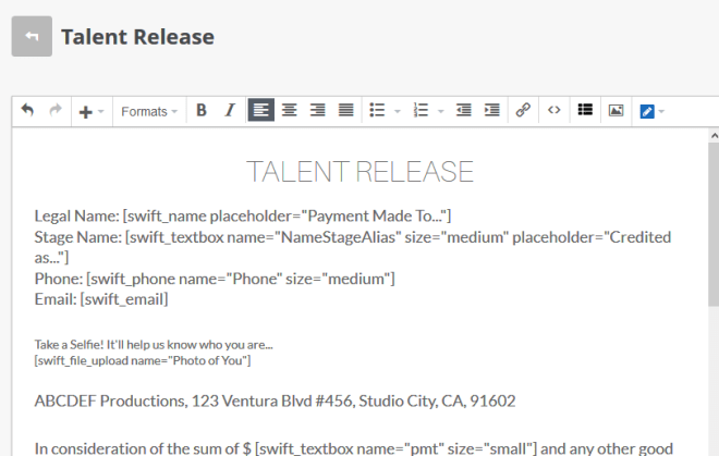 Talent Release Form Backend
