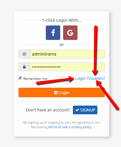 Reset Password Login Trouble