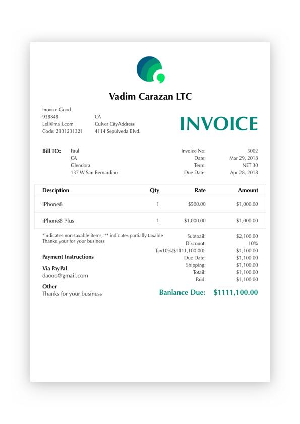 Elegance invoice template