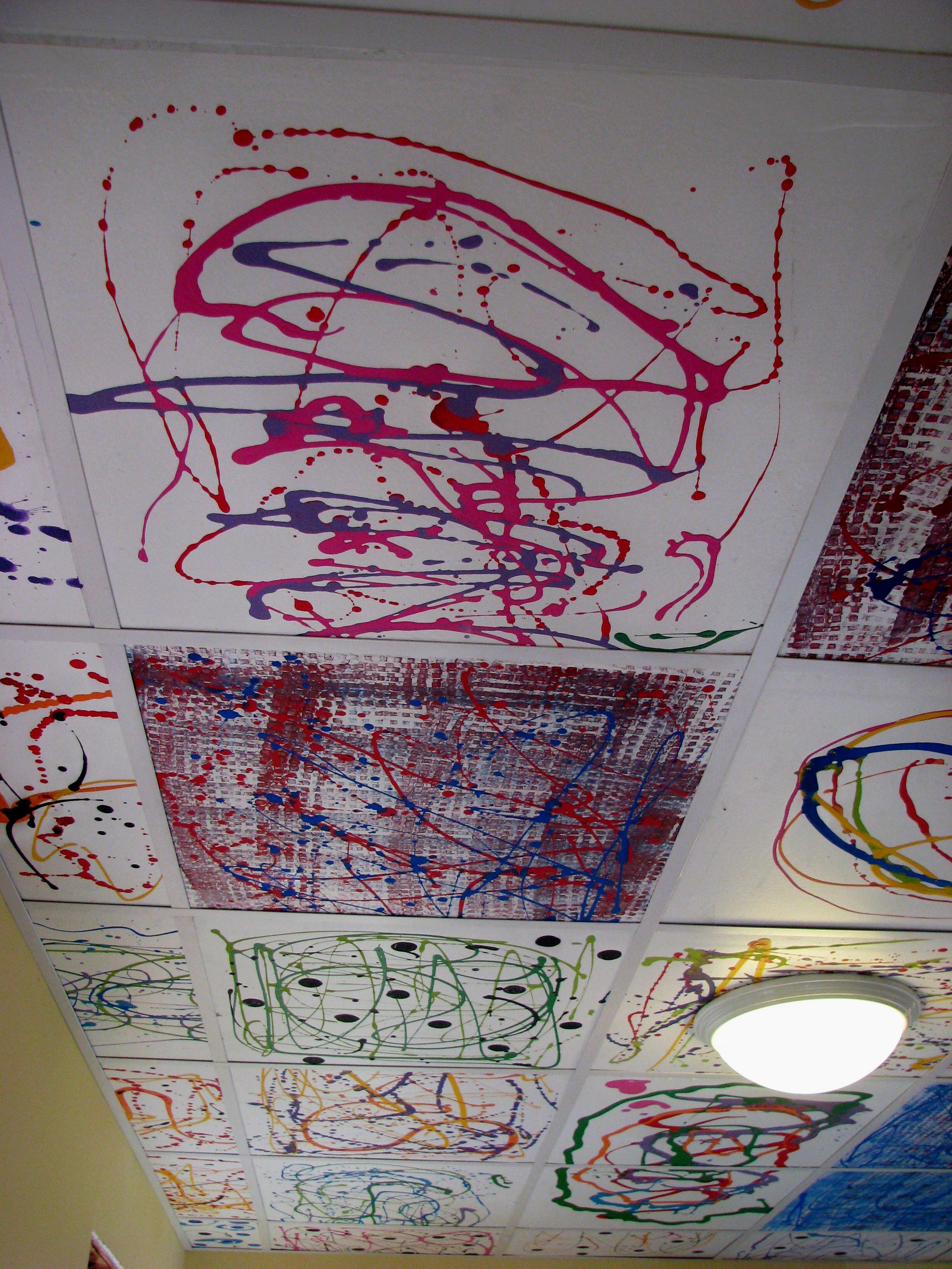 corrugated metal ceiling tiles image
