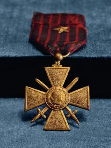 LAWRENCE LESLIE MCVEY'S CROIX DE GUERRE - The French government awarded this honor to McVey and other U.S. soldiers who fought valiantly under French command in the 369th Infantry, an all-black regiment nicknamed the Harlem Hellfighters. In World War I, African-American soldiers could not serve in combat with white soldiers. (Credit: All Artifacts from the collection of the Smithsonian National Museum of African American History and Culture / Gift of Gina R. McVey.)
