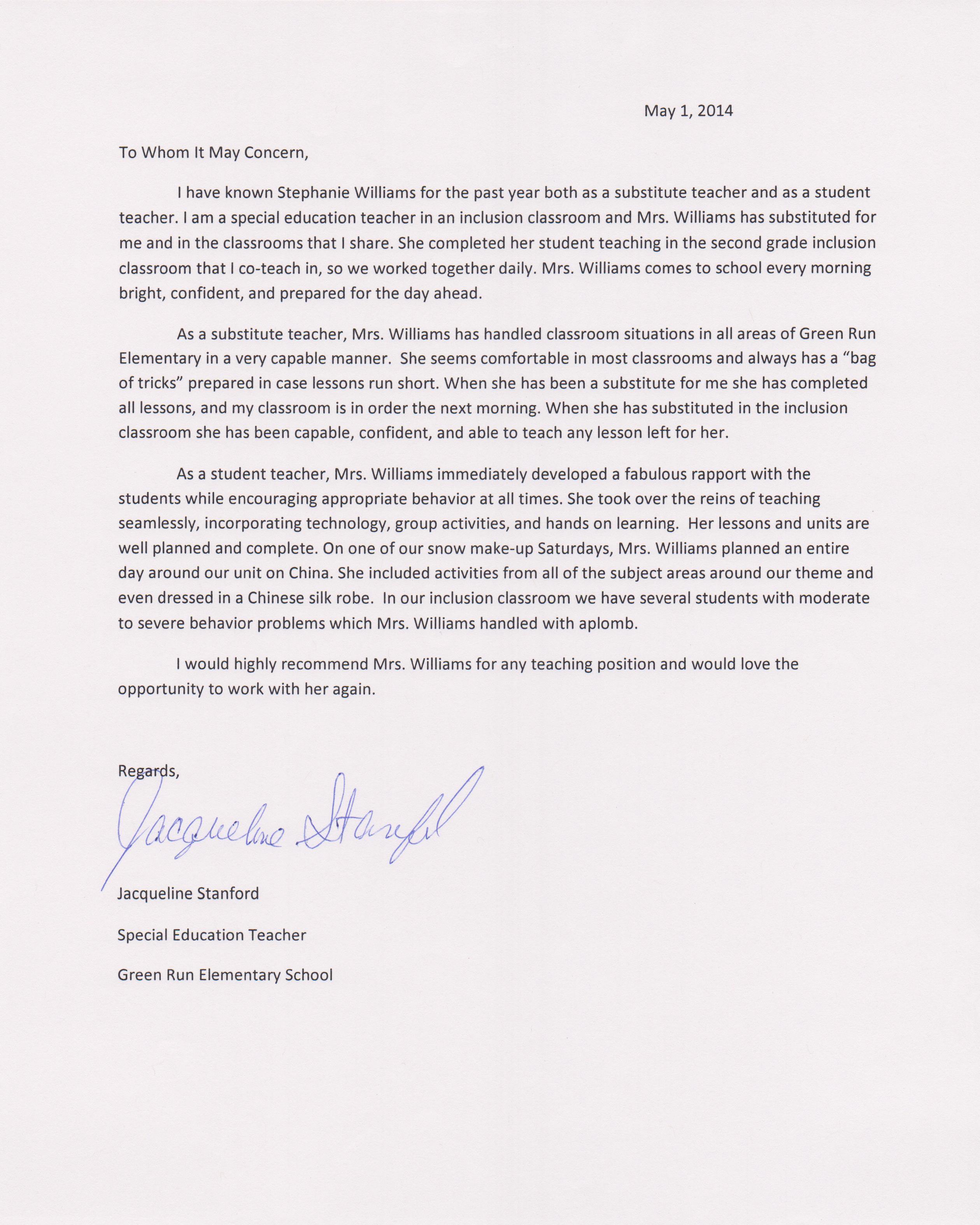 cooperating teacher recommendation letter sample