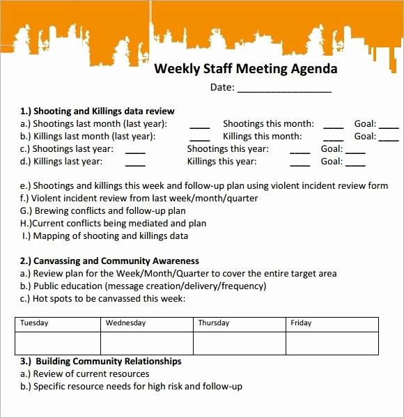 30 Weekly Staff Meeting Agenda | Example Document Template