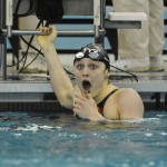 Mar 21, 2015; Greensboro, NC, USA; Kelsi Worrell after winning the 200 butterfly during NCAA Division I Swimming and Diving-Championships at Greensboro Aquatic Center. Mandatory Credit: Evan Pike-USA TODAY Sports