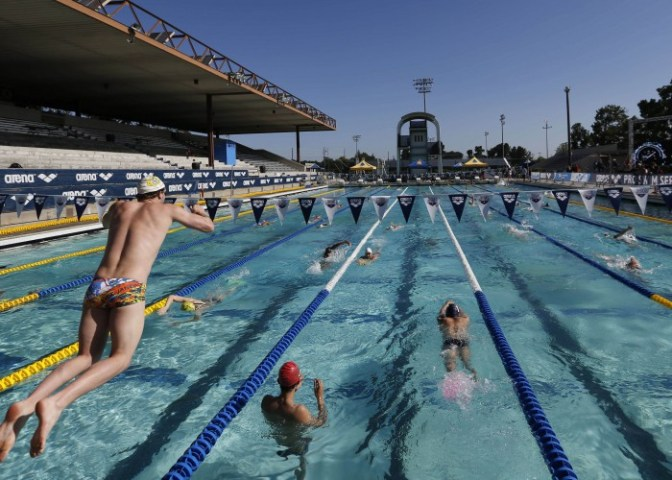 Jun 18, 2015; Santa Clara, CA, USA; Morning warm-ups in the main racing pool during Day One of the Arena Pro Series at Santa Clara, at the George F. Haines International Swim Center in Santa Clara, Calif. Mandatory Credit: Bob Stanton-USA TODAY Sports