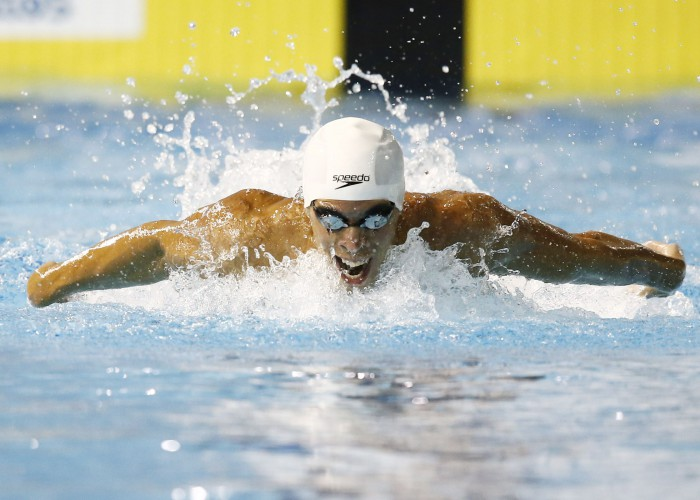 Jul 14, 2015; Toronto, Ontario, CAN; Mauricio Fiol of Peru competes in the men's 200m butterfly swimming final during the 2015 Pan Am Games at Pan Am Aquatics UTS Centre and Field House. Mandatory Credit: Rob Schumacher-USA TODAY Sports