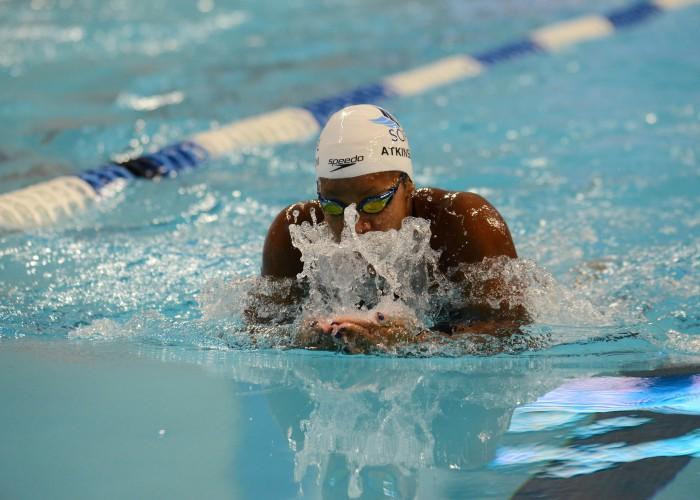 Jan 17, 2016; Austin, TX, USA; Alia Atkinson swims in the women's 100 meter breaststroke final at Lee & Joe Jamail Texas Swimming Center. Mandatory Credit: Brendan Maloney-USA TODAY Sports