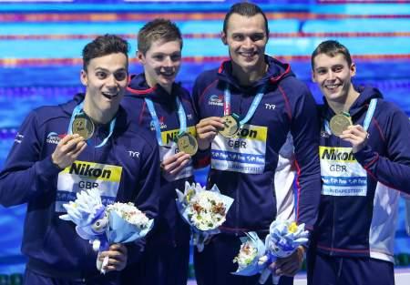 men's 800 free relay, james-guy-duncan-scott-nicholas-greigner-gbr-relay-gold-champion-2017-world-champs