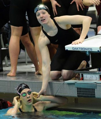 Georgia's Veronica Burchill and Meaghan Raab during the SEC Swimming and Diving Championships in College Station, Texas, on Wednesday, Feb. 14, 2018. (Photo by Steven Colquitt)