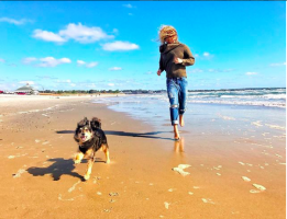 Beisel and Her Dog at the Beach