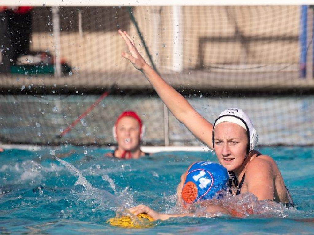 December 22, 2018; El Torro High School, Lake Forest, CA, USA; USA Water Polo Women's Water Polo Exhibition Series: USA vs Netherlands; USA Paige Hauschild pressures Netherlands Simone van der Kraats Photo credit: Catharyn Hayne