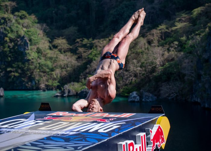 Gary Hunt of the UK dives from the 27 metre platform at the Big Lagoon on Miniloc Island during the final competition day of the first stop of the Red Bull Cliff Diving World Series in Palawan, Philippines on April 13, 2019. // Dean Treml/Red Bull Content Pool // AP-1Z16H9ZGD1W11 // Usage for editorial use only // Please go to www.redbullcontentpool.com for further information. //