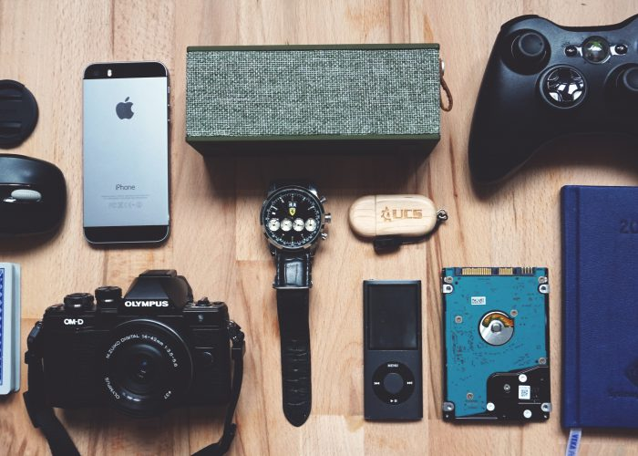 flat-lay-of-electronics-on-table