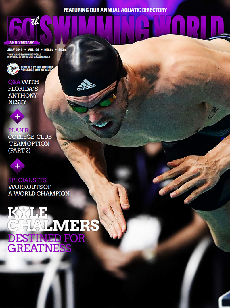 Swimming World July 2019 Cover Kyle Chalmers ISCA Hall of Fame Summit