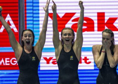 Team Australia celebrates after winning in the women's 4x200m Freestyle Relay Final during the Swimming events at the Gwangju 2019 FINA World Championships, Gwangju, South Korea, 25 July 2019.