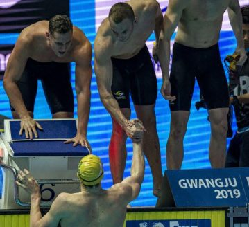 Team Australia celebrates after winning in the men's 4x200m Freestyle Relay Final during the Swimming events at the Gwangju 2019 FINA World Championships, Gwangju, South Korea, 26 July 2019.
