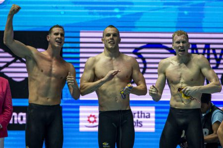 alexander graham, kyle chalmers, clyde lewis, men's 800 free relay