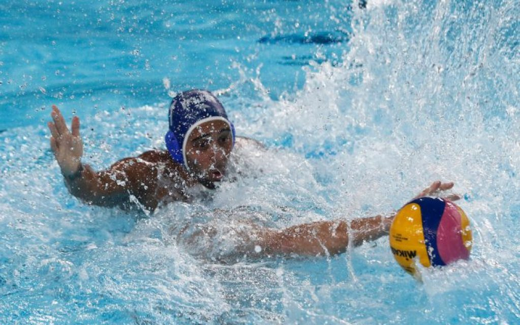 Lima, Tuesday, August 6, 2019 - Gabriel Robles from Puerto Rico during the Men's Group A Preliminary Waterpolo match against USA at Villa María del Triunfo during Pan American Games Lima 2019. Copyright Paul Vallejos / Lima 2019 Mandatory credits: Lima 2019 NO SALES NO ARCHIVES **