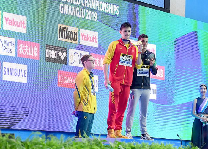 Mack Horton AUS protests Sun Yang's CHN Gold Medal, 400m Freestyle Final, 18th FINA World Swimming Championships 2019, 21 July 2019, Gwanju South Korea. Pic by Delly Carr/Swimming Australia. Pic credit requested and mandatory for free editorial usage. THANK YOU.