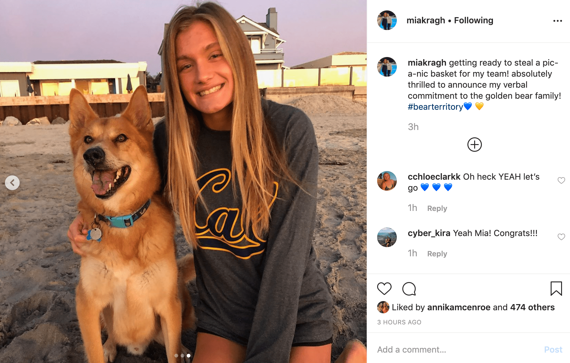 Mia Kragh Instagram  cal commitment
