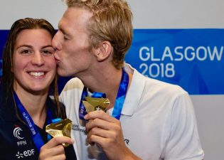 Jeremy DESPLANCHES (R) of Switzerland and his girlfriend Charlotte BONNET of France pose with their gold medals after wining the men's 200m Individual Medley (IM) Final and the women's 200m Freestyle Final during the 34th LEN European Swimming Championships in Glasgow, Great Britain, Monday, Aug. 6, 2018. (Photo by Patrick B. Kraemer / MAGICPBK)